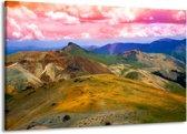 Canvas schilderij Bergen | Roze, Blauw, Groen | 140x90cm 1Luik