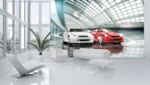 Fotobehang Auto | Wit, Rood | 152,5x104cm