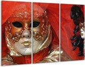 Glasschilderij Masker | Rood, Goud, Zwart | 120x80cm 3Luik | Foto print op Glas |  F000648
