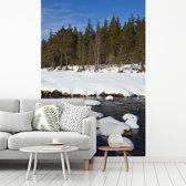 Fotobehang vinyl - De rivier de Muick in het Nationaal park Cairngorms tijdens de winter breedte 215 cm x hoogte 320 cm - Foto print op behang (in 7 formaten beschikbaar)