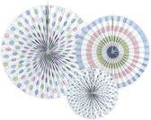 Papieren Waaiers Gekleurd Pastel Set 3 delig
