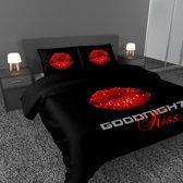 Nightlife Dekbedovertrek Led Lips Black 140 x 200/220