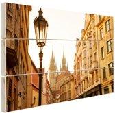 Oude centrum Praag Hout 30x20 cm - Foto print op Hout (Wanddecoratie)