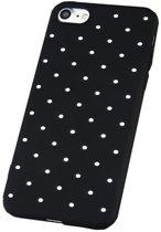 iPhone 7 / 8 Siliconen Hoesje Polka Dots Back Cover Zwart Stippen Case