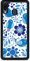 Galaxy M20 Softcase hoesje Blue Bird and Flowers