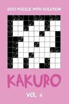 200 Puzzle With Solution Kakuro Vol 4: Cross Sums Puzzle Book, hard,10x10, 2 puzzles per page