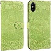 Let op type!! Voor iPhone XS Max ingedrukt afdrukken patroon horizontale Flip PU lederen draagtas  met houder & kaartsleuven & portemonnee & & Lanyard (groen)