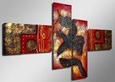 Red Dragon - Canvas Schilderij Vierluik 160 x 70 cm