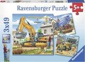 Ravensburger Grote bouwvoertuigen Drie puzzels van 49 stukjes