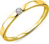 Majestine Ring - 9 Karaat Solitair (375) Met Diamant 0.05ct - Maat 50