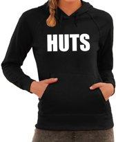 HUTS tekst hoodie zwart voor dames - zwarte fun sweater/trui met capuchon L