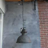 Metalen hanglamp met glas en ketting