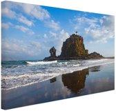 Rots met vuurtoren Nieuw-Zeeland foto Canvas 60x40 cm - Foto print op Canvas schilderij (Wanddecoratie woonkamer / slaapkamer) / Zee en Strand