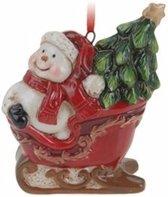 Kersthanger sneeuwpop in slee 8 cm - kerstboomhanger