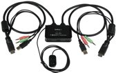 StarTech.com 2-poorts USB HDMI-kabel KVM-switch met audio en remote switch met USB-voeding
