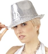 12 stuks: Hoed Popstar Pailletten - zilver