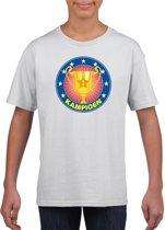 Wit kampioen t-shirt voor kinderen L (146-152)