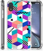 Apple iPhone Xr TPU Hoesje Design Blocks Colorful