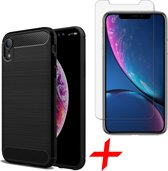 Geborsteld Hoesje voor Apple iPhone Xr Soft TPU Gel Siliconen Case Zwart + Tempered Glass Screenprotector Transparant iCall