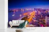 Fotobehang vinyl - Luchtfoto Wuhan breedte 390 cm x hoogte 260 cm - Foto print op behang (in 7 formaten beschikbaar)