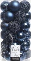 Decoris kunststof kerstballen mix - 37 stuks - 6 cm - Onbreekbare plastic kerstballen - Donkerblauw