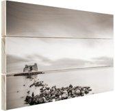 Stenen in het water zwart-wit Hout 30x20 cm - klein - Foto print op Hout (Wanddecoratie)