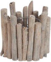 Theelicht houder hout/glas