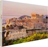 De Akropolis van Athene Hout 160x120 cm - Foto print op Hout (Wanddecoratie) XXL / Groot formaat!