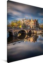 Typische herfstimpressie van de Prinsengracht in Amsterdam Canvas 80x120 cm - Foto print op Canvas schilderij (Wanddecoratie woonkamer / slaapkamer)