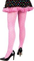 Roze verkleed panty met witte stippen voor dames