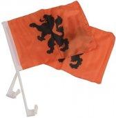 Nederland Autovlaggen 2 Stuks Oranje/zwart 20 X 30 Cm