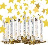 relaxdays 10x confetti kanon ster - confetti shooter - bruiloft - goud - party popper 40cm