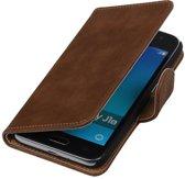 Bruin Hout booktype cover hoesje voor Samsung Galaxy J1 Nxt / J1 Mini