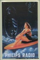 Philips Radio reclame Dame Surfplank reclamebord 10x15 cm