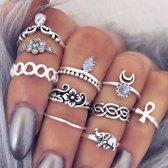 Lovelymusthaves Hippe boho bohemien stijl ringset  - Dames - Zilverkleurig
