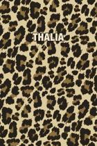 Thalia: Personalized Notebook - Leopard Print Notebook (Animal Pattern). Blank College Ruled (Lined) Journal for Notes, Journa