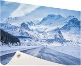 Besneeuwde bergen Tuinposter 60x40 cm - klein - Tuindoek / Buitencanvas / Schilderijen voor buiten (tuin decoratie)
