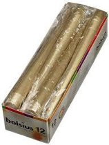 Bolsius Gotische kaarsen Goud 245/24 12 stuks - 1 pak - 12 Gouden kaarsen