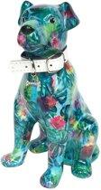 Pomme Pidou spaarpot hond Mylo - Turquoise met gekleurde bladeren en bloemen