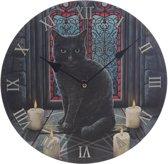 Lisa Parker Sacred Cirkel kat-Klok-Rond-MDF-030 cm-Zwart/Rood/Grijs