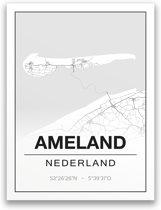 Poster/plattegrond AMELAND - A4