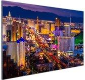 Las Vegas by night Aluminium 120x80 cm - Foto print op Aluminium (metaal wanddecoratie)