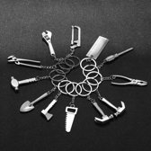 4 Delige Set - leuke Sleutelhanger Tool Set (4-Delig) - Gereedschap - Vaderdag - Klussen - Klusser - Bouwen - Sleutel - Zaag - Liniaal