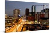 Oranje verlichting in de avond in Birmingham Aluminium 60x40 cm - Foto print op Aluminium (metaal wanddecoratie)