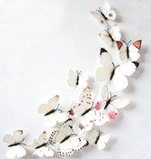 3D vlinders Wit / Muurdecoratie vlinders