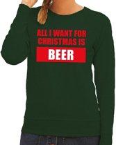 Foute kersttrui / sweater All I Want For Christmas Is Beer groen voor dames - Kersttruien M (38)