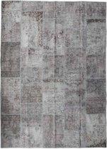 Vintage patchwork vloerkleed grijs - Afmeting: 284 x 207