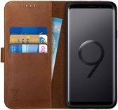 Rosso Deluxe Samsung Galaxy S9+ Hoesje Echt Leer Book Case Bruin