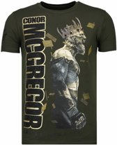 Local Fanatic Notorious King - Conor McGregor Rhinestone T-shirt - Khaki - Maten: XXL