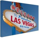 Welkomsbord Las Vegas Canvas 60x40 cm - Foto print op Canvas schilderij (Wanddecoratie)